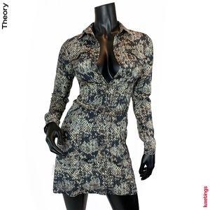Theory - 100% Silk Snakeskin Print Dress w/ Belt